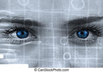 合成, 灰色, 青, イメージ, 目, 顔