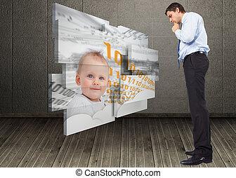 合成, 考え, ビジネスマン, あご, イメージ, 感動的である