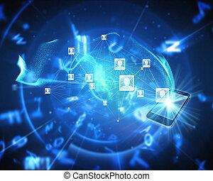 合成, 背景, 社会, ネットワーク, イメージ