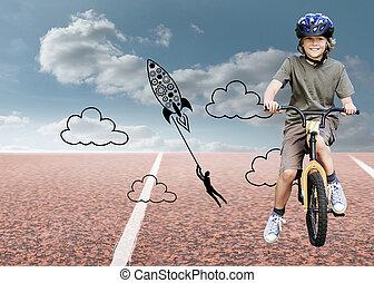 合成, 自転車, 公園, 彼の, 小さい 男の子, イメージ