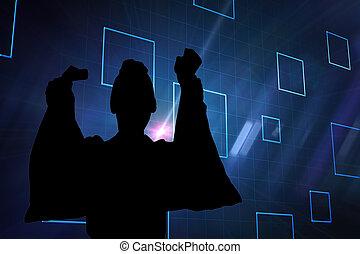 合成, 黒, 正方形, 背景, 青, イメージ