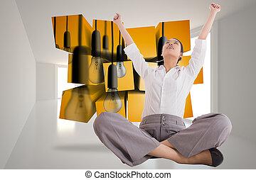 合成, legged, 交差点, 元気づけること, 女性実業家, イメージ, モデル