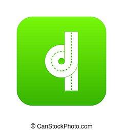 合流点, アイコン, 緑, 道, デジタル