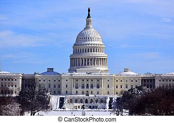 合衆国州議事堂, ドーム, 家, の, 議会, 後で, 雪, washington d.c.
