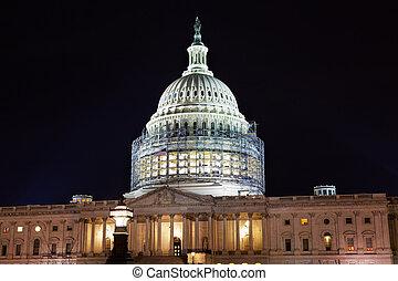 合衆国州議事堂, 北, 側, 建設, 夜, 星, washington d.c.
