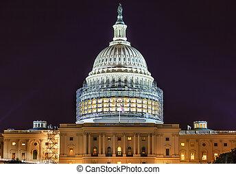 合衆国州議事堂, 南, 側, 建設, 夜, 星, washington d.c.