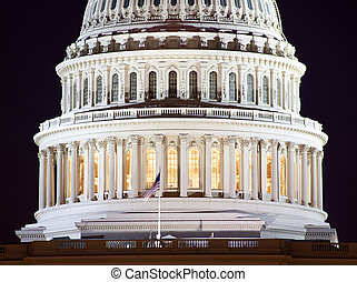 合衆国資本, ドーム, クローズアップ, 夜, washington d.c.