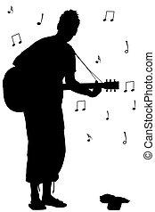 吉他, 侧面影象, 人