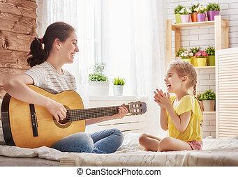 吉他, 女儿, 玩, 妈妈