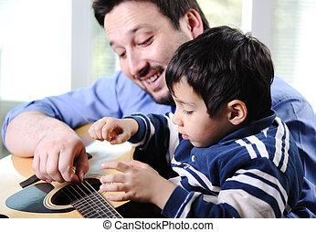 吉他, 家, 父亲, 玩, 儿子