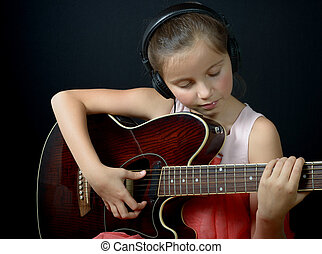 吉他, 小女孩, 相当, 玩
