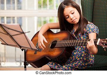 吉他, 漂亮, 很少, 玩, 女孩