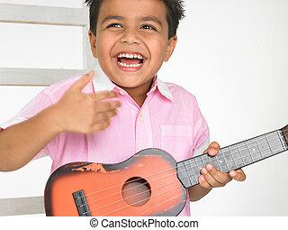 吉他, 男孩, 玩具, 亚洲人, 玩