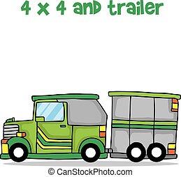 吉普車, 以及, 拖車, 卡通, 設計, 矢量