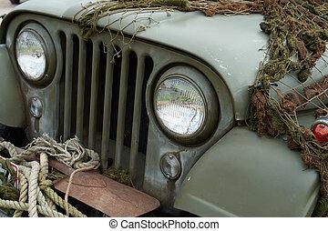 吉普车, 前面, 美国, 细节, 军队