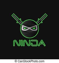 吉祥人, 戰士, 眼睛, superhero, 面罩, ninja, 字, 隊, 劍, 日語, 邪惡, 二, katana, 綠色, 大, 標識語, 運動, 頭