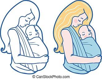 吊包帯, イラスト, babywearing, ベクトル, 抱き合う, 母, 赤ん坊