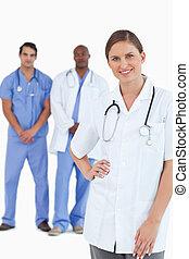 同事, 她, 醫生, 後面, 微笑, 男性