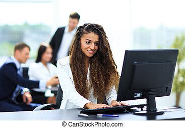 同事, 工作, 她, 辦公室, 從事工商業的女性, 仔看, 後面, 愉快