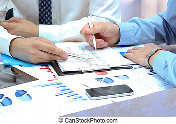 同事, 金融, 事務, 一起工作, 分析, 無花果