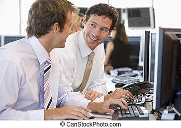 同事, 電腦, 一起工作