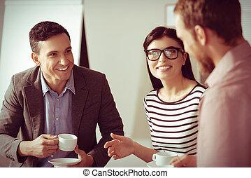 同僚, すてきである, コーヒー, 持つこと, うれしい