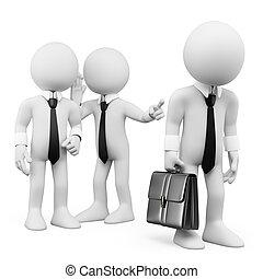 同僚, について, 労働者, gossiping, 白, 人々。, 3d
