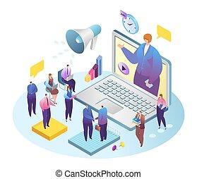 同僚, インターネット, illustration., テレコンファレンス, ビジネス, ビジネスマン, 会議, 網, ...