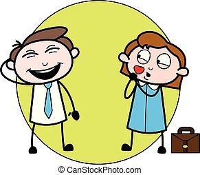 同僚, オフィス, -, イラスト, 楽しい時を 過すこと, ベクトル, 従業員, ビジネスマン, 漫画