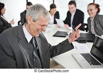 同僚, グループ, 背景, meeting., ビジネスマン, シニア