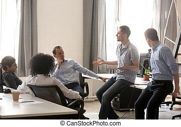 同僚, コーチ, ビジネス 訓練, 話し, 多様