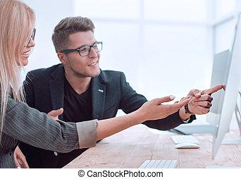 同僚, デスクトップ, 2, 仕事, ビジネス, プロジェクト, 論じる