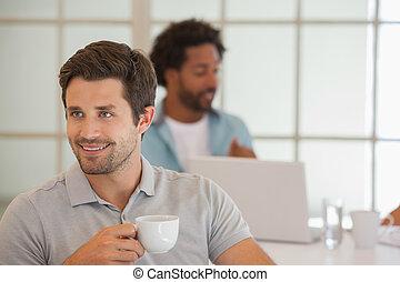 同僚, ビジネスマン, コーヒー, 持つこと, 背景