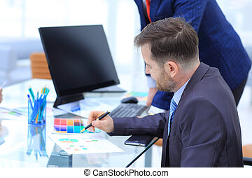 同僚, ビジネス, タブレット, 論じる, ラップトップ, 2, strateg, 電話, コンピュータ, デジタル, ビジネスマン, データ, 痛みなさい