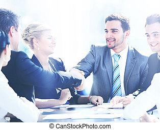 同僚, ビジネス, モデル, ミーティングテーブル, 2つの手, の間, マレ, 動揺, 経営者