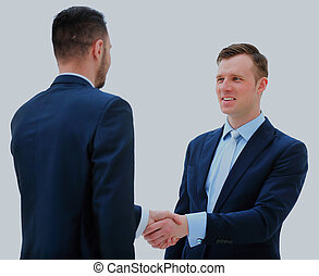 同僚, ビジネス, モデル, ミーティング, 2, テーブル, の間, マレ, 動揺, hands., 経営者