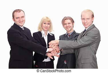 同僚, ビジネス, 上, 一緒に, ∥(彼・それ)ら∥, 統一, 手, 幸せ, ジェスチャーで表現する, 光景