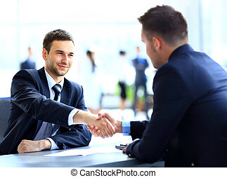 同僚, ビジネス, 動揺, 2つの手, の間, ミーティング