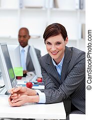同僚, ビジネス, 彼女, 女性実業家, concept., 仕事, バックグラウンド。, 微笑
