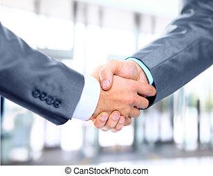 同僚, ビジネス, 振動, 2, 手, クローズアップ, ∥間に∥