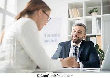 同僚, 仕事, ビジネスマン, 論じる, 問題, 幸せ