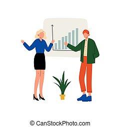 同僚, 仕事, ビジネス 人々, 寄付, グラフ, オフィス, とんぼ返り, イラスト, プレゼンテーション, チャート, ベクトル, 提出すること