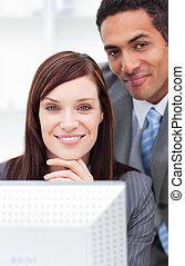 同僚, 仕事, 微笑, 2, コンピュータ