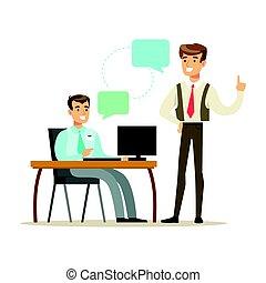 同僚, 労働者のオフィス, 現代, 特徴, laptop., イラスト, ベクトル, カラフルである, 漫画