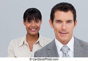 同僚, 女性実業家, アフロ - american, 微笑, 彼女
