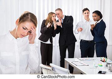 同僚, 女性, オフィス, 強調された