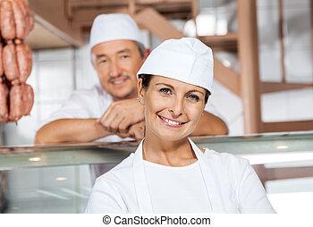 同僚, 店, 女性, 肉屋