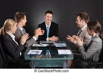 同僚, 拍手喝采する, ビジネス, 人々, 後で, マレ, プレゼンテーション