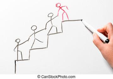 同僚, 概念, キャリア, 黒板, はしご, 動きなさい, -, の上, 助力, 図画