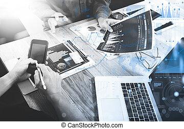 同僚, 概念, ビジネス, タブレット, 木製である, 論じる, ラップトップ, デジタル, 2, 作戦, 電話, コンピュータ, 机, ビジネスマン, データ, 痛みなさい